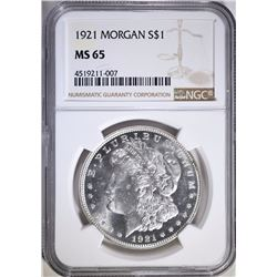 1921 MORGAN SILVER DOLLAR, NGC MS-65 GEM