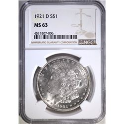 1921-D MORGAN SILVER DOLLAR, NGC MS-63