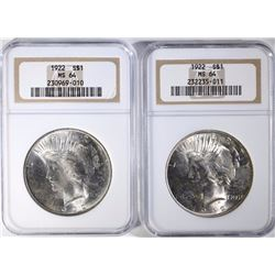 2 - 1922 PEACE SILVER DOLLARS, NGC MS64