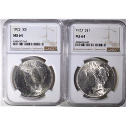 2 - 1923 PEACE SILVER DOLLARS - NGC MS64