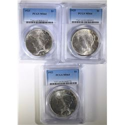 1922,  1923, & 1925 PEACE SILVER DOLLARS, PCGS MS-64