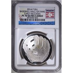 2014-P BASEBALL HALL OF FAME COMMEM SILVER DOLLAR, NGC PF-70 ULTRA CAMEO