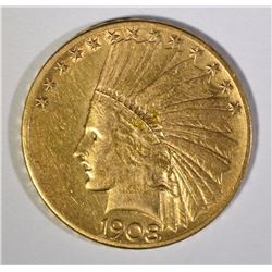 1908-S $10.00 GOLD INDIAN, XF RARE KEY