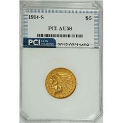 1914-S $5.00 GOLD INDIAN, PCI AU/BU