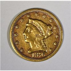 1876 $2.50 GOLD, ABOUT XF  RARE DATE