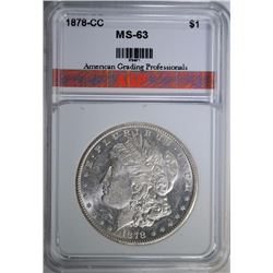 1878-CC MORGAN SILVER DOLLAR., AGP  CHOICE BU