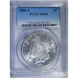 1881-S MORGAN SILVER DOLLAR, PCGS MS-64
