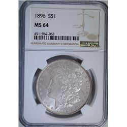 1896 MORGAN SILVER DOLLAR, NGC MS-64