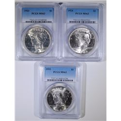 1922, 1923 & 1924 PEACE SILVER DOLLARS, PCGS MS-63