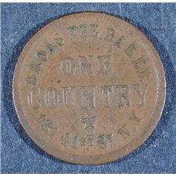 CIVIL WAR TOKEN: 1863 NEW YORK CITY 41st N.Y. ONE COUNTRY
