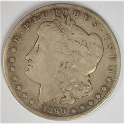 1890-CC MORGAN SILVER DOLLAR, VG+