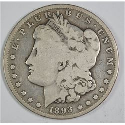 1893 MORGAN SILVER DOLLAR, VG  KEY DATE