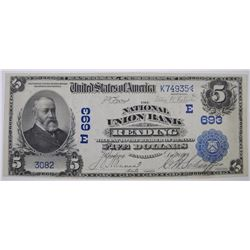 1902 $5 ( DATED BACK ) NATIONAL CURRENCY CH#693 NATL UNION BANK of READING