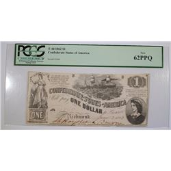1862 $1 CONFEDERATE STATES of AMERICA PCGS 62PPQ VERY SCARCE ISSUE in CU