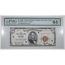 1929 $5 FEDERAL RESERVE BANK NOTE NEW YORK - PMG 64 EPQ