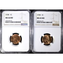 (2) 1938 LINCOLN CENT NGC GRADED MS-65 RED & MS-66 RED