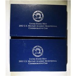 2 ) 2002 U.S. MILITARY ACADEMY PROOF COMMEM SILVER DOLLARS ORIGINAL PACKAGING