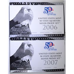2006 & 2007 U.S. SILVER STATE QUARTER PROOF SETS IN ORIG PACKAGING