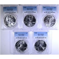 ( 5 ) 1988 AMERICAN SILVER EAGLES, PCGS MS-69
