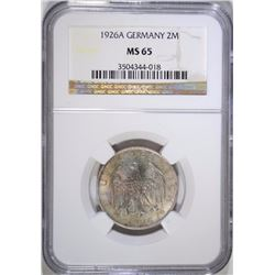 1926A SILVER 2MARKS WEIMAR REPUBLIC GERMANY NGC MS65