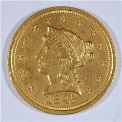 1845-D $2.5 GOLD LIBERTY BU CLEANED, RIM BUMP OBV. RARE DATE