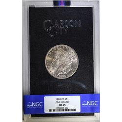 1883-CC GSA HOARD MORGAN SILVER DOLLAR, NGC  MS-65  WITH ORIGINAL BOX AND CERT.