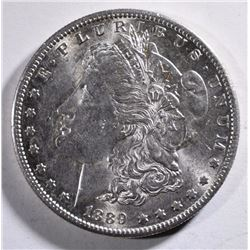 1889-S MORGAN SILVER DOLLAR, CHOICE BU