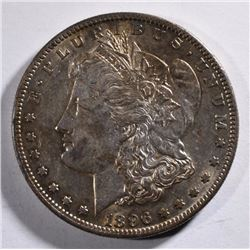 1896-S MORGAN SILVER DOLLAR, CHOICE AU