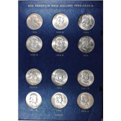 COMPLETE NICE BU FRANKLIN HALF DOLLAR SET IN ALBUM 1948 THRU 1963-D