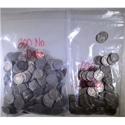 400 BUFFALO NICKELS: 100 FULL DATES & 300 NO DATES