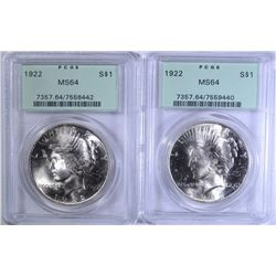 2 - 1922 PEACE SILVER DOLLARS, PCGS MS64 OLD GREEN HOLDERS!