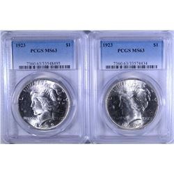 ( 2 ) 1923 PEACE SILVER DOLLARS, PCGS  MS-63