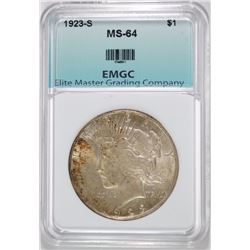 1923-S PEACE DOLLAR EMGC CHOICE GEM BU