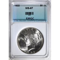 1922 PEACE SILVER DOLLAR EMGC SUPERB GEM
