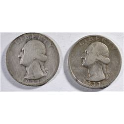 1932-D & 1932-S LOW GRADE KEY DATE WASHINGTON QUARTERS