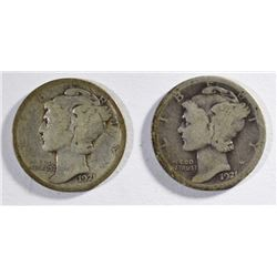 1921 & 1921-D MERCURY DIMES - GOOD's - KEY DATES
