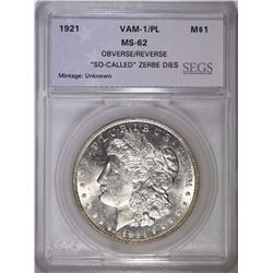 "1921 MORGAN DOLLAR VAM-1/PL SEGS CH BU ""SO CALLED ZERBE DIES"""