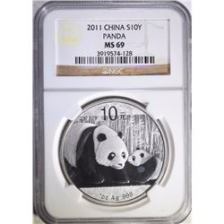 2011 ONE OUNCE SILVER CHINA PANDA, NGC MS-69