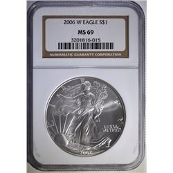 2006-W AMERICAN SILVER EAGLE, NGC MS-69  SCARCE