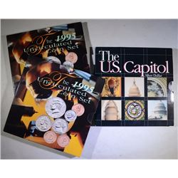 ( 2 ) 1995 UNC COIN SETS & 1994 U.S. CAPITOL COMMEM SILVER DOLLAR ALL IN ORIG