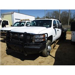 2008 CHEVROLET 3500 FLATBED TRUCK, VIN/SN:1GBJK33618F216632 - CREW CAB, 4X4, V8 DIESEL ENGINE, A/T,