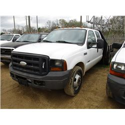 2006 FORD F350 FLATBED TRUCK, VIN/SN:1FDWW36P16EC93896 - CREW CAB, DUALLY, POWER STROKE ENGINE, A/T,