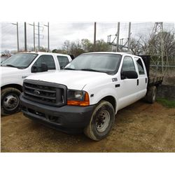 2001 FORD F350 FLATBED, VIN/SN:1FTSW30L71ED78789 - CREW CAB, V8 GAS ENGINE, A/T, 10' FLATBED BODY, O