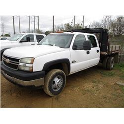 2006 CHEVROLET 3500 FLATBED, VIN/SN:1GBJC33226F123111 - CREW CAB, DURAMAX DIESEL ENGINE, A/T, P/S, A