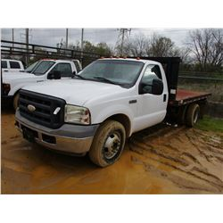 FORD F350 FLATBED TRUCK, - S/A, DUALLY, GAS ENGINE, A/T, ODOMETER READING 147,649 MILES