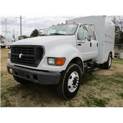 2000 FORD F750 COVERED SERVICE TRUCK, VIN/SN:3FDXW75N2YMA08387 - S/A, CREW CAB, CAT DIESEL ENGINE, A
