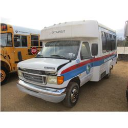 2003 FORD E350 PASSENGER BUS, VIN/SN:1FDWE35L73HA62786 - GAS ENGINE, A/T, WHEEL CHAIR LIFT, ODOMETER