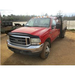 2004 FORD F350 FLATBED, VIN/SN:1FDWX37P54EC10883 - 4X4, POWER STROKE V8 ENGINE, 6 SPEED TRANS, ALUMI
