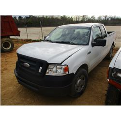 2008 FORD F150 VIN/SN:1FTFX12V08FB74409 - EXT CAB, V8 GAS ENGINE, A/T, ODOMETER READING 196,838 MILE