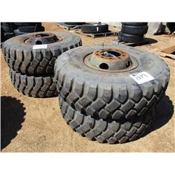 (4) 14.00R20 TIRES AND RIMS